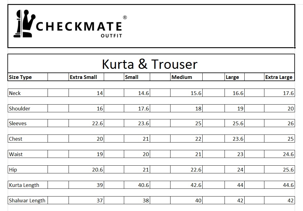 Kurta Trouser Size Chart