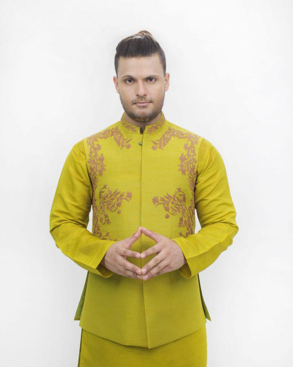 Waist Coat VC00096Waist Coat VC00096 in Mehndi Color